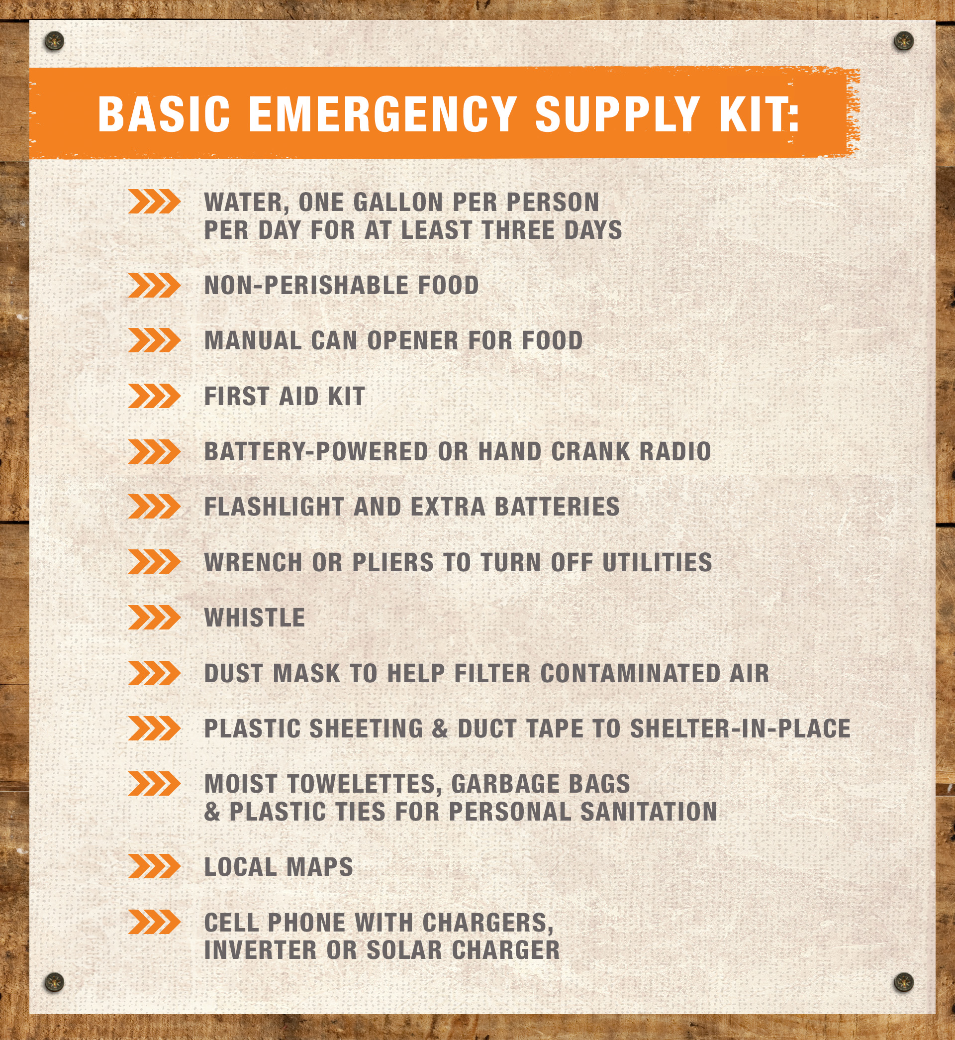 Basic list for hurricane preparedness