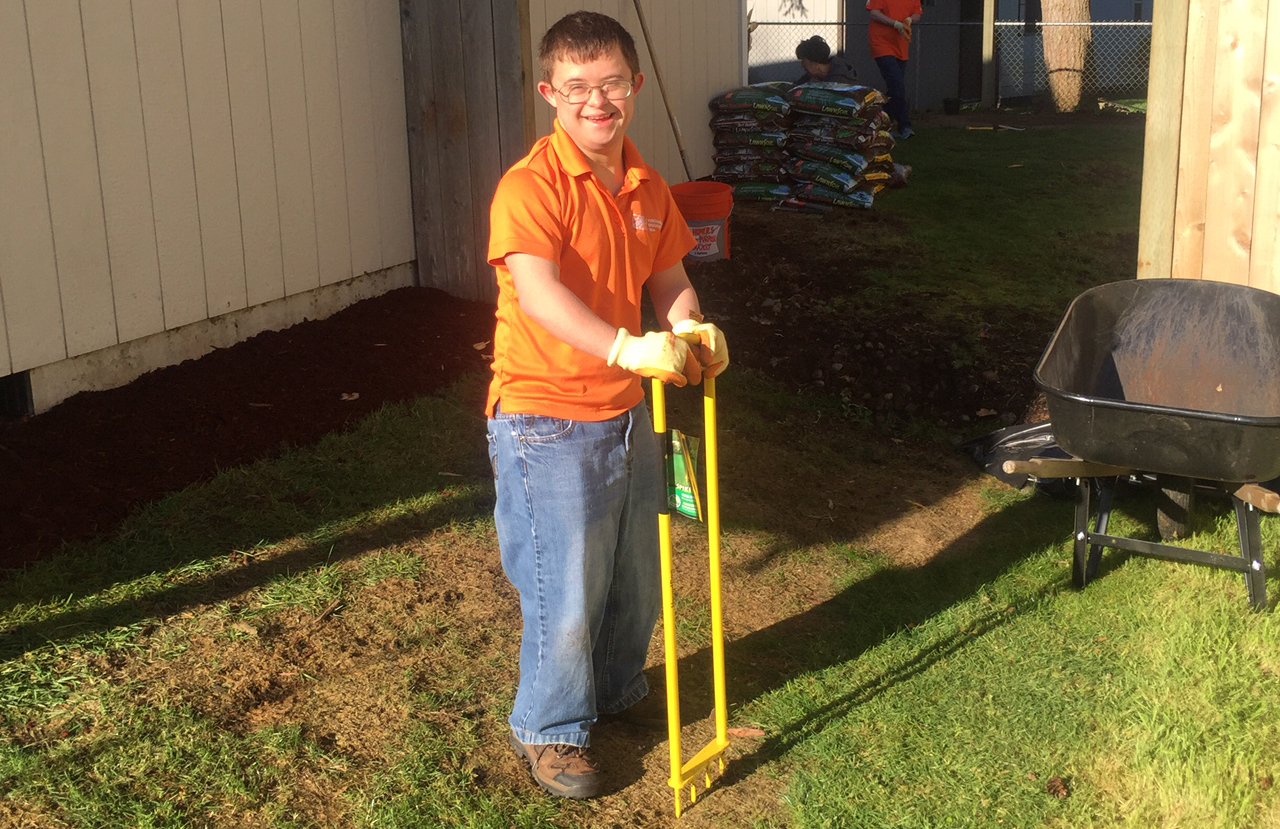 Bryson volunteering at a Team Depot project.