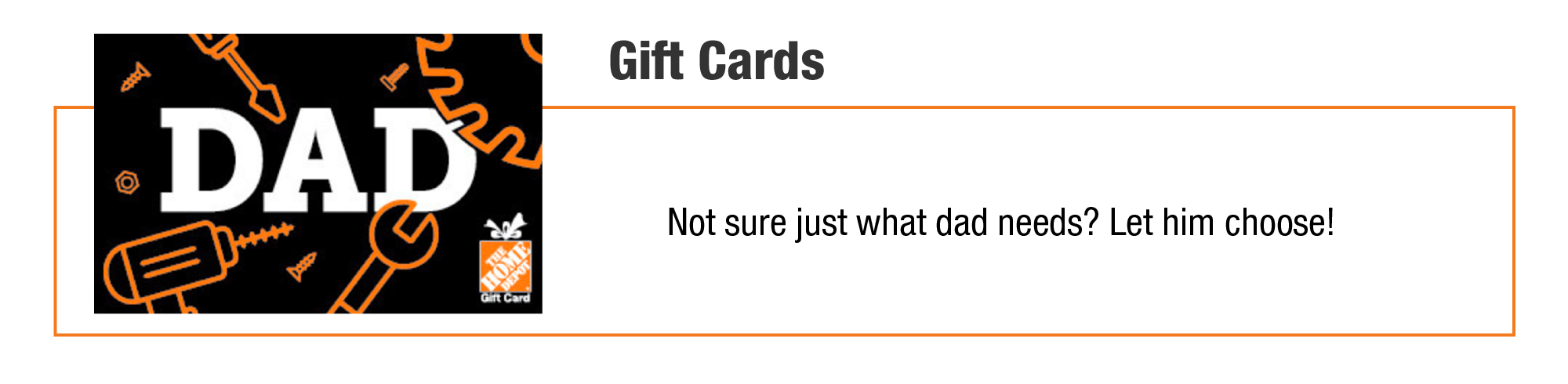 Home Depot Father's Day Gift Card