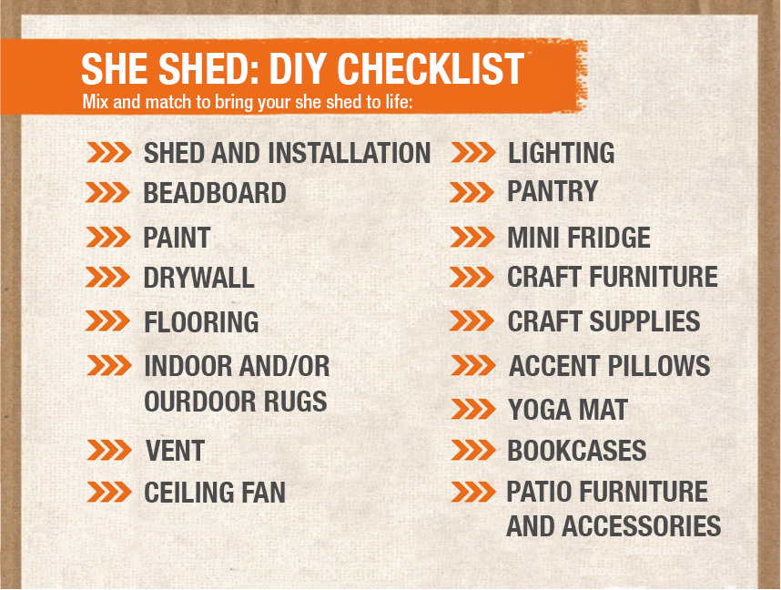She Shed Check-List