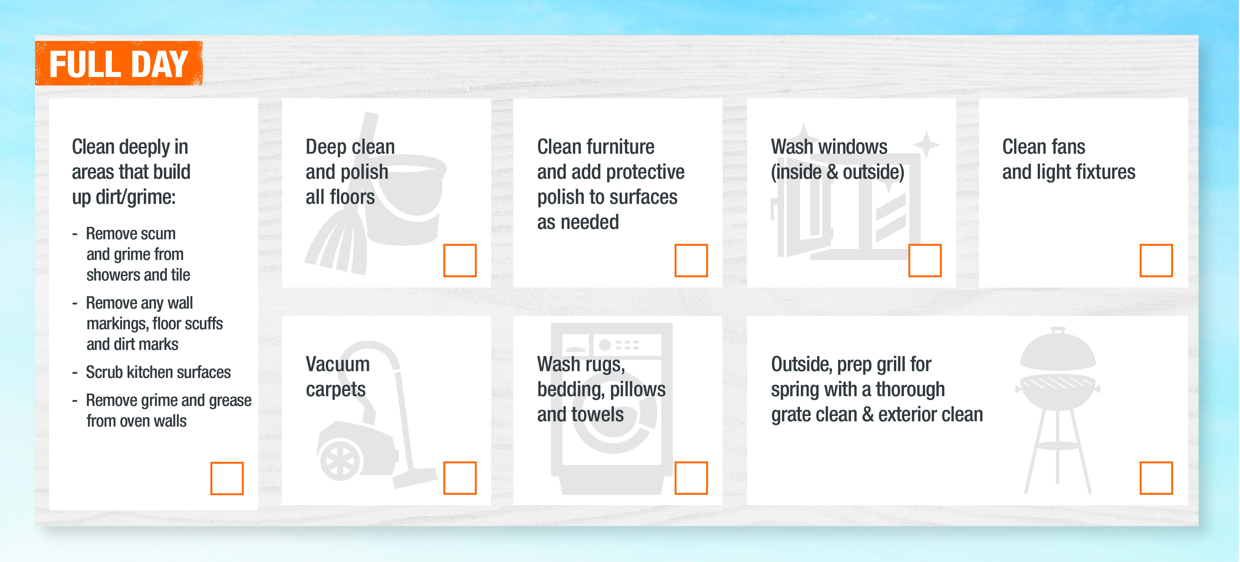 Full day spring cleaning checklist