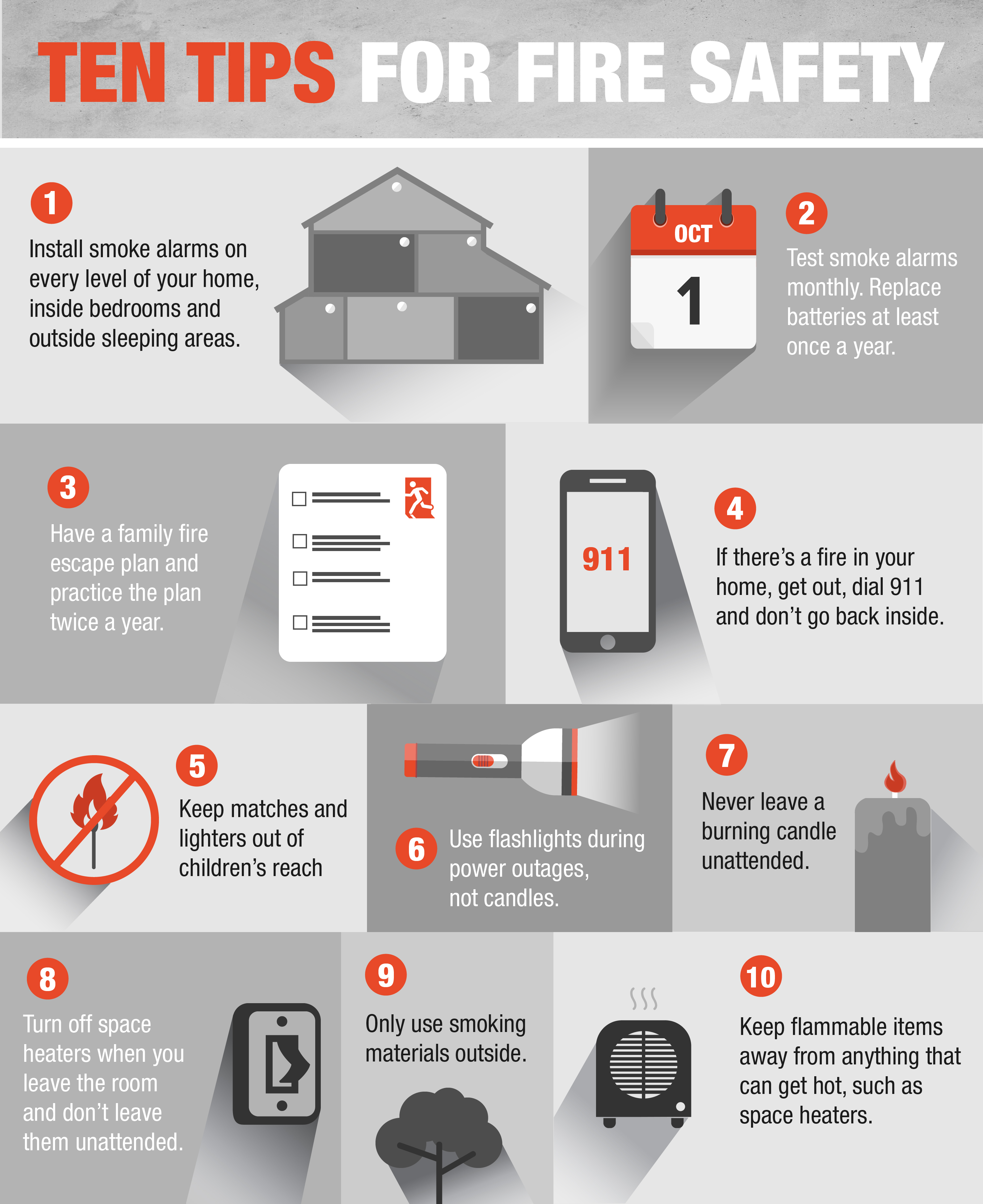 The home depot 10 tips for fire safety for Fire prevention tips for home