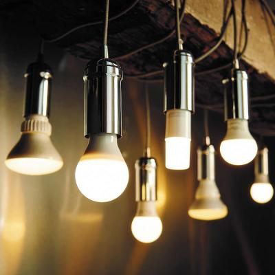 Light bulbs hanging from wires