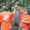 Team Depot volunteers at work in yard