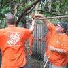 Team Depot volunteers at work in yard