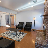 New, open living room