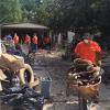 Team Depot volunteers sort through flooding debris in Louisiana