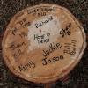 Tree stump signed by Team Depot volunteers