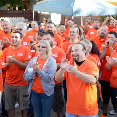 Home Depot volunteers cheering