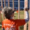 Home Depot volunteer writes message