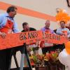 Home Depot associates at board-cutting ceremony